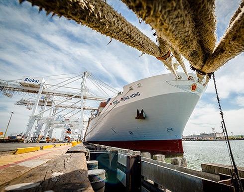 shipping liner docked at shore